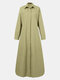 Solid Color Button Long Sleeve Casual Dress for Women - Green