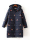 Embroidery Hooded Long Cotton Plus Size Coat