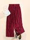 Solid Color Ribbed Elastic Waist Wide Leg Lounge Pants For Women - Wine Red