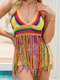Women Colorful Weave Hollow Out Holiday Beach Tassel Halter Swimwear Tankinis - Multicolor