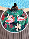 Women Flamingo Tropical Print Fray Trim Circle Shawl Cover Up Swimsuit - #10