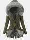Solid Color Button Drawstring Casual Coat For Women - Green Gray