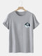 Mens Astronaut Graphic Crew Neck Casual 100% Cotton Short Sleeve T-Shirts - Gray