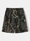 Mens National Style Cotton Breathable Striped Drawstring Home Casual Mid-Long Shorts - Gold