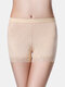Plus Size Women Mesh Breathable Hip Lift Lace Mid Waist Panty Shapewear With Pads - Apricot