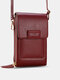 Multi-slots Flap Magnetic Button Stitch Detail Multi-pockets Touch Screen On The Back 7 Inch Phone Bag - Wine Red