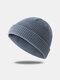 Bonnet unisexe en laine tricoté de couleur unie Casquettes de crâne Bonnets sans bord - gris