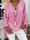 Langärmlige, einfarbige, lose Bluse mit V-Ausschnitt für Damen - Rosa