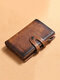 Men Genuine Leather 6 Card Slots Retro Anti-theft Money Clips Foldable Card Holder Wallet - Brown
