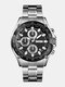 Stainless Steel Business Watch Waterproof Chronograph Men Quartz Watches - Silver Case Black Dial