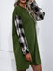 Women Check Stitch Long Sleeve O-neck Casual Dress - Army Green