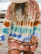 Casual Multi-Colored Printed O-neck Ovehead Long Sleeve T-Shirt For Women - Brown