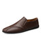 Men Cow Leather Non Slip Collapsible Heel Soft Sole Casual Driving Shoes  - Dark brown
