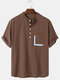Mens Cotton Solid Color Light Daily Stand Collar Henley Shirts With Pocket - Brown