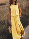 Solid Color Splited Sleeveless Casual Maxi Dress For Women - Yellow