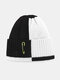 Unisex Knitted Color Contrast Patchwork Paperclip Decoration Fashion Warmth Beanie Hat - White+Black
