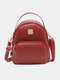 Women Curved Top Pocket Front Mini Backpack - Red