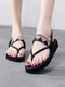 Women Clip Toe Various Patterns Embroidered Ethnic Style Flat Sandals - Black-Colorful Wave
