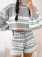 Casual Solid Color Striped Plus Size Women Two-piece T-shirt Shorts Suit - Grey