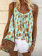 Floral Print Loose Straps Tank Tops For Women - Blue