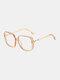 Men Anti-Blue Glasses Flat Mirror Square Glasses Frame Women Leopard Myopia Eyeglasses Frame - Gold
