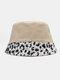 Women Cotton Leopard Pattern Print Patchwork Fashion All-match Sunscreen Bucket Hat - Khaki