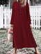 Casual Solid Color O-neck Long Sleeve Plus Size Button Dress - Wine Red
