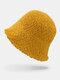 Women Lamb Wool Thick Plain Color Keep Warm Casual Fashion Sunvisor Bucket Hat - Yellow