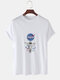 Mens Astronaut Chest Print Solid Color Loose Light O-Neck T-Shirts - White