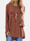 Elk Christmas Print Long Sleeves O-neck Casual T-shirt For Women - Brown