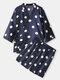 Mens Polka Dot Print Tie Side Kimono Satin Pajamas Sets With Shorts - Navy