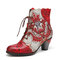 SOCOFY Retro Embossed Genuine Leather Flower Embroidery Splicing Chunky Heel Short Boots - Red