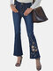 Women Embroidered Pocket High Waist Casual Denim Flared Jeans - Blue