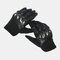 Men Leather Wear-resistant Non-slip Tactical Military Training Anti-cut Full Finger Gloves - Black