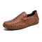 Men Hand Stitching Breathable Soft Microfiber Farbric Driving Loafers - Camel