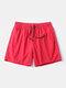 Men Quick Dry Shorts Drawstring Mesh Liner Solid Color Workout Beachwewar Swim Trunks - Red