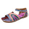 SOCOFY Retro Genuine Leather Splicing Colorful Band Buckle Strap Adjustable Hook Loop Sandals