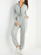 Solid Color Zipper Drawstring Pocket Long Sleeve Casual Jumpsuit for Women - Gray