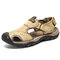 Men Outdoor Closed Toe Non Slip Hook Loop Hiking Leather Sandals