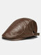 Collrown Men Faux Leather Retro Letters Pattern Flat Cap Universal All-match Forward Hat Beret Hat - Coffee