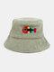 Women & Men Woolen Embroidery Fish Bone Cute Casual Bucket Hat - Green