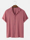 Mens Towelling Solid Color Revere Collar Basics Short Sleeve Shirts - Pink