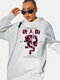 Chinese Style Print Drawstring Long Sleeve Plus Size Hoodie with Pocket - White