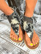 Large Size Women European Style Camouflage Print Comfy Non Slip Casual Size Lace Up Clip Toe Sandals - Gray Camo
