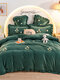 4Pcs Flannel Floral Overlay Towel Embroidery Autumn And Winter Warm Comfy Bedding Milk Velvet Series Kit - Dark Green