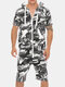 Mens Casual Jumpsuit Camo Zipper Up Hooded Front Pockets Breathable Jogger Lounge Set - camo