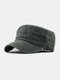 Men Cotton Solid Color Outdoor Sunshade Military Hat Flat Hat Peaked Cap - Green