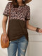 Leopard Print Short Sleeve O-neck Patchwork Casual T-Shirt For Women - Coffee