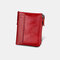 Men Genuine Leather RFID Anti-theft Multi-slots Retro Large Capacity Foldable Card Holder Wallet - Red