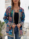 Vintage Webbing Patchwork Print Plus Size Jackets with Pockets - Blue